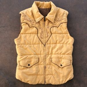 Vintage Western Style Puffy Vest w/ Embroidery